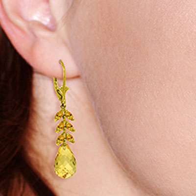 Citrine Briolette Drop Earrings 11.2ctw in 14K Gold