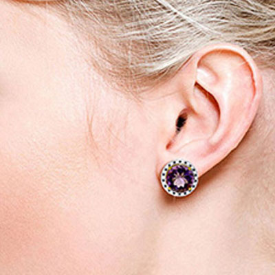 Amethyst and Diamond Stud French Clip Earrings 12.0ctw in 14K Gold