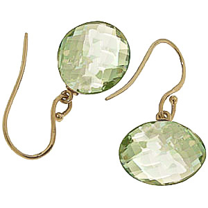 Green Amethyst Chequer Cut Drop Earrings 12.0ctw in 9ct Gold
