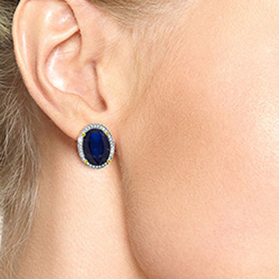 Sapphire and Diamond French Clip Halo Earrings 12.8ctw in 9ct Gold