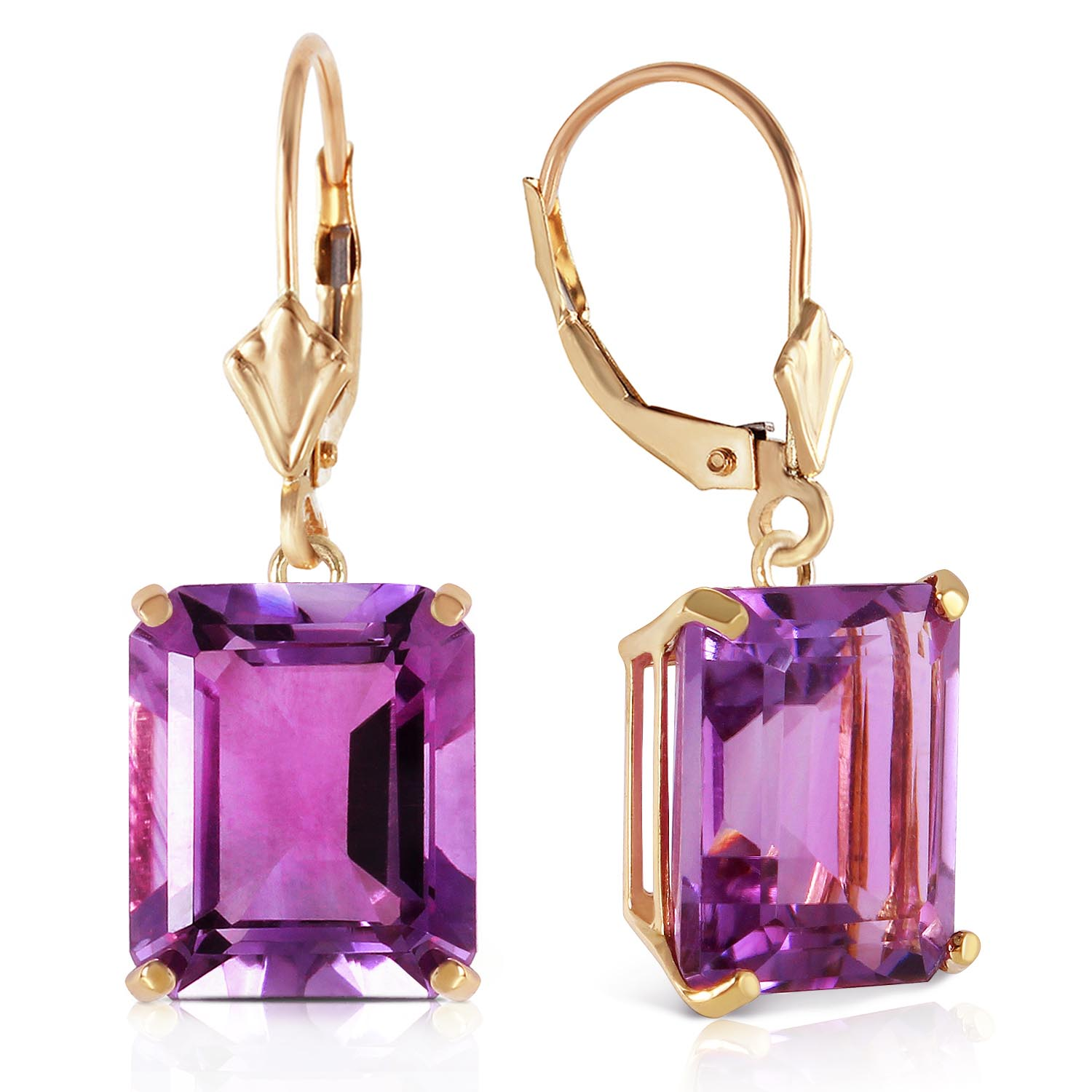 Amethyst Drop Earrings 13.0ctw in 14K Gold