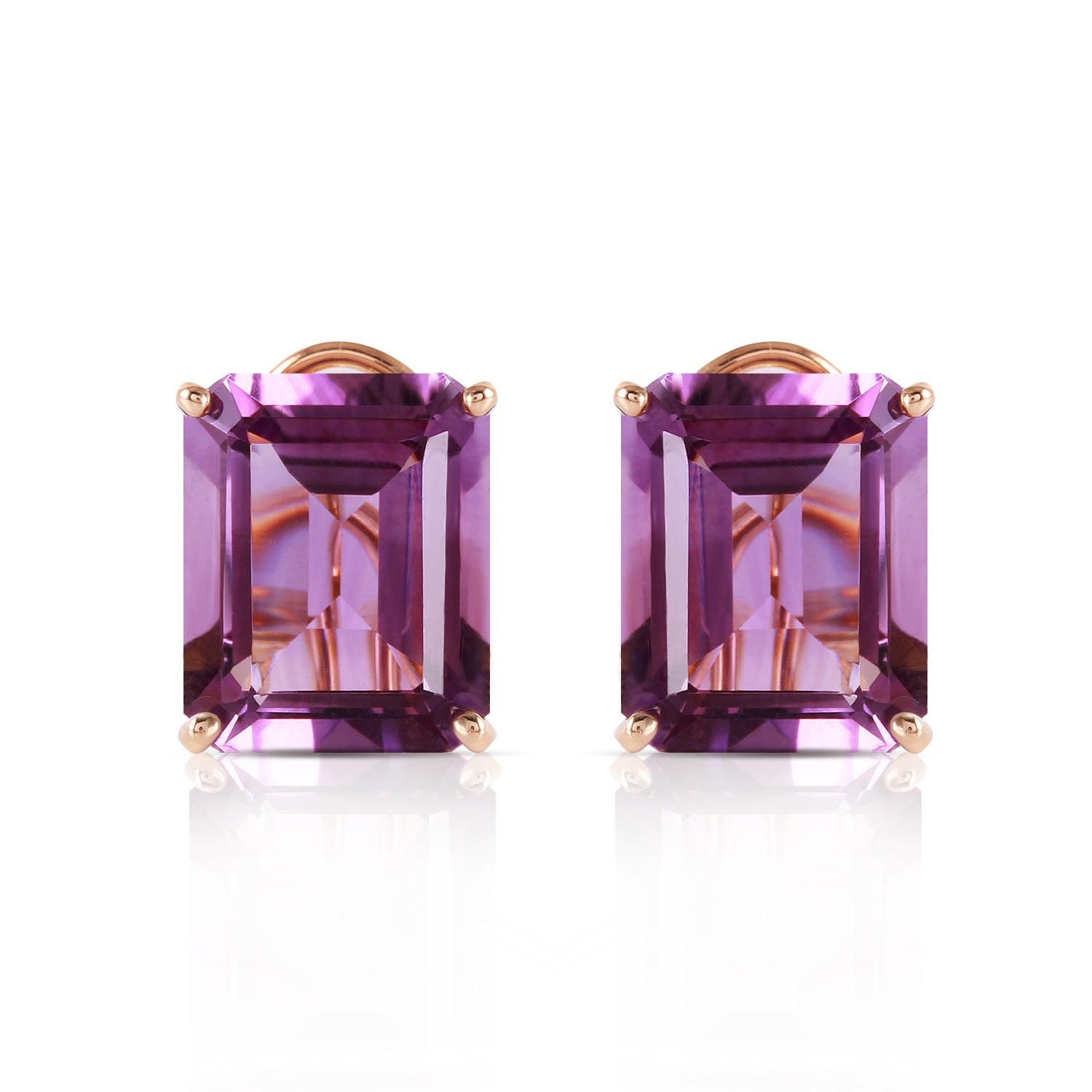 Amethyst Stud Earrings 13.0ctw in 14K Gold