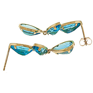 Blue Topaz Petal Drop Earrings 13.0ctw in 9ct Gold