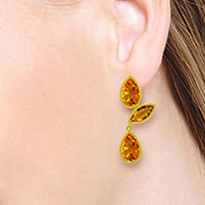 Citrine Petal Drop Earrings 13.0ctw in 14K Gold