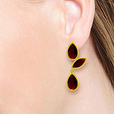 Garnet Petal Drop Earrings 13.0ctw in 9ct Gold