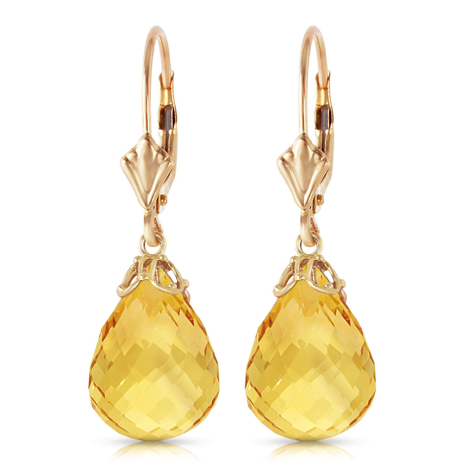 Citrine Crown Briolette Drop Earrings 14.0ctw in 9ct Gold