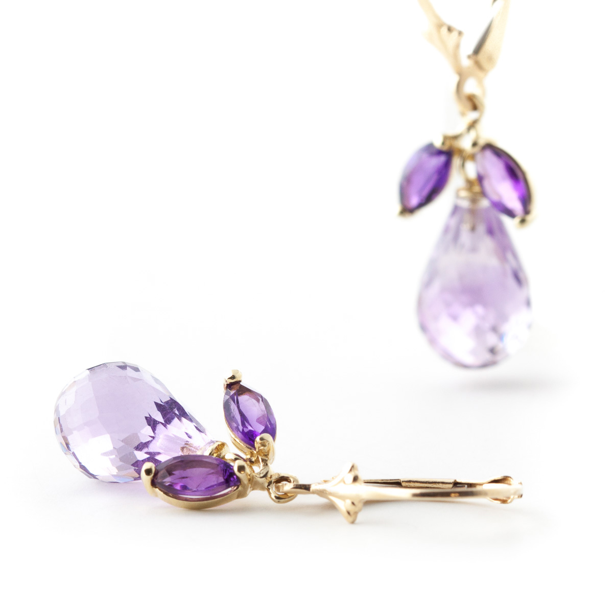 Amethyst Drop Earrings 14.4ctw in 9ct Gold