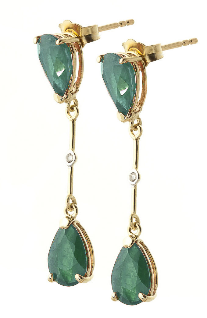 Emerald and Diamond Drop Earrings 15.0ctw in 14K Gold