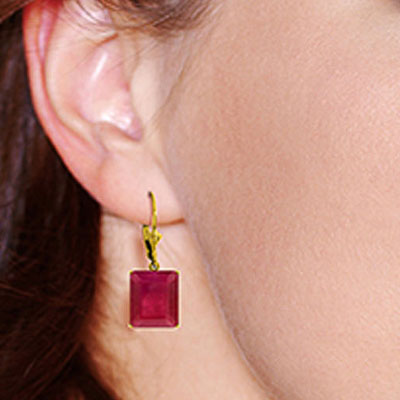 Ruby Drop Earrings 15.0ctw in 9ct Gold