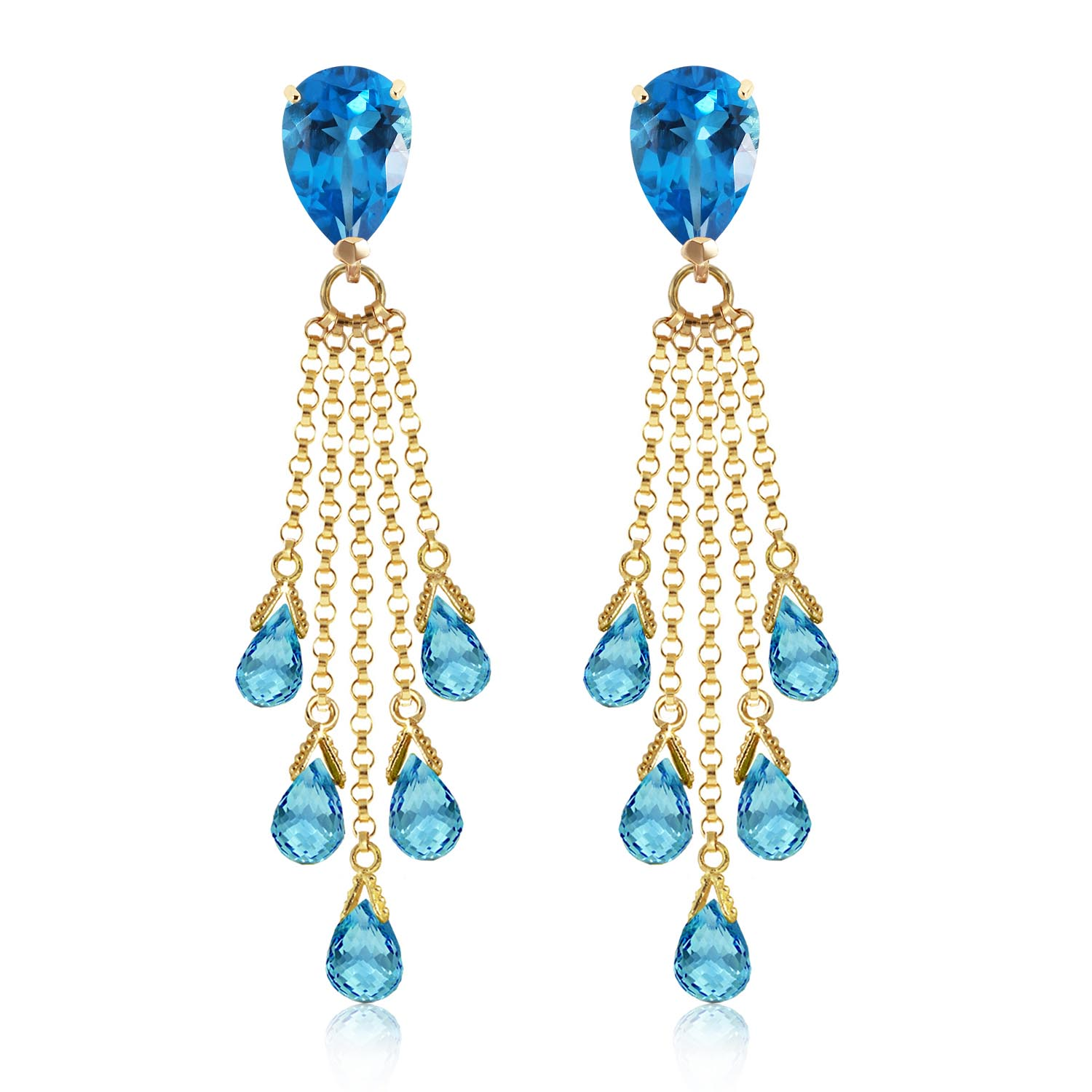 Blue Topaz Comet Tail Drop Earrings 15.5ctw in 14K Gold