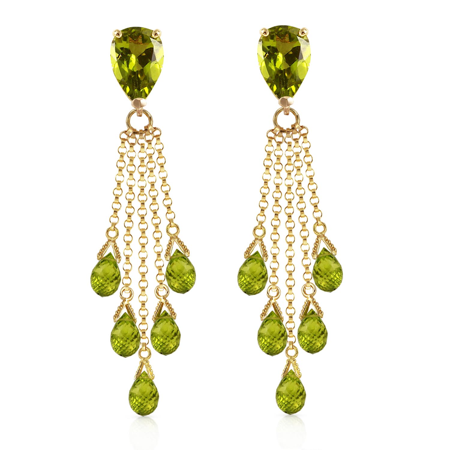 Peridot Comet Tail Drop Earrings 15.5ctw in 14K Gold