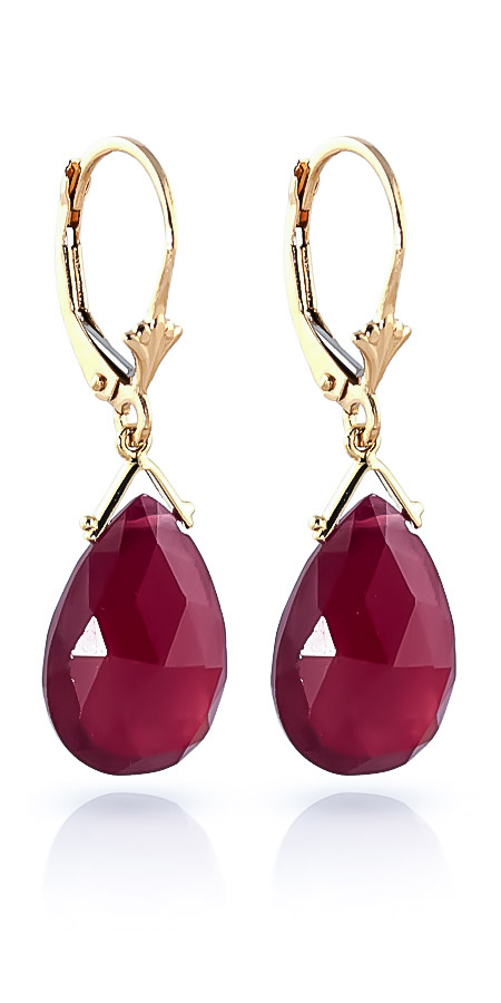 Ruby Droplet Briolette Earrings 16.0ctw in 14K Gold