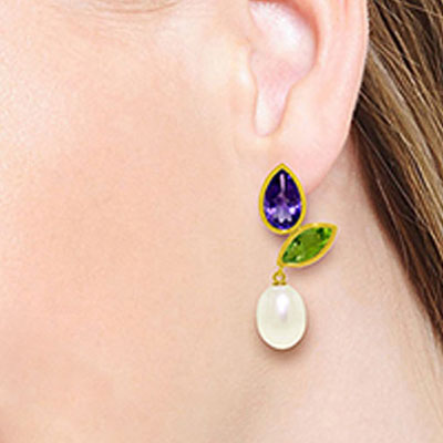 Gemstone Petal Drop Earrings 16.6ctw in 9ct Gold