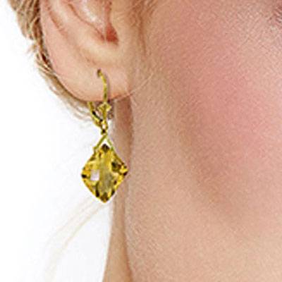Citrine Deflection Drop Earrings 17.5ctw in 9ct Gold