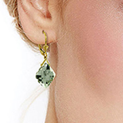 Green Amethyst Deflection Drop Earrings 17.5ctw in 9ct Gold