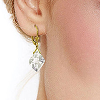 White Topaz Deflection Drop Earrings 17.5ctw in 9ct Gold