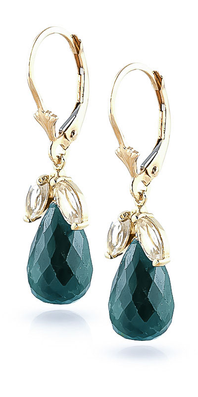 Emerald Snowdrop Earrings 18.6ctw in 14K Gold