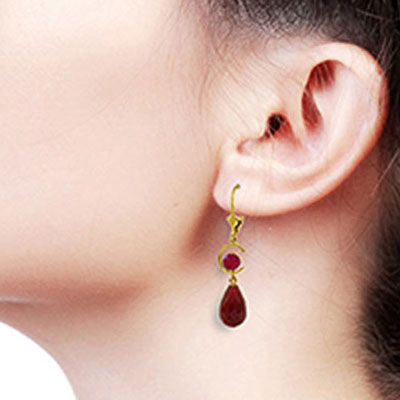 Ruby Briolette Drop Earrings 18.6ctw in 9ct Gold