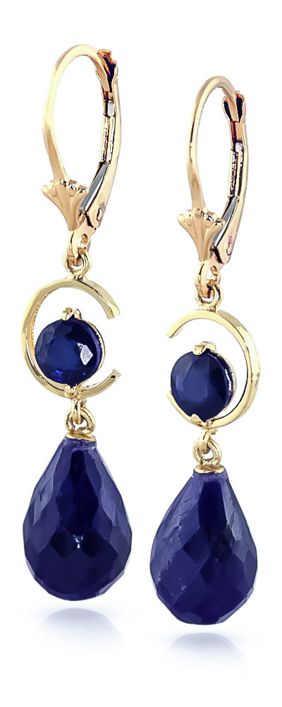 Sapphire Briolette Drop Earrings 18.6ctw in 14K Gold