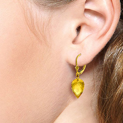 Citrine Briolette Drop Earrings 19.0ctw in 14K Gold
