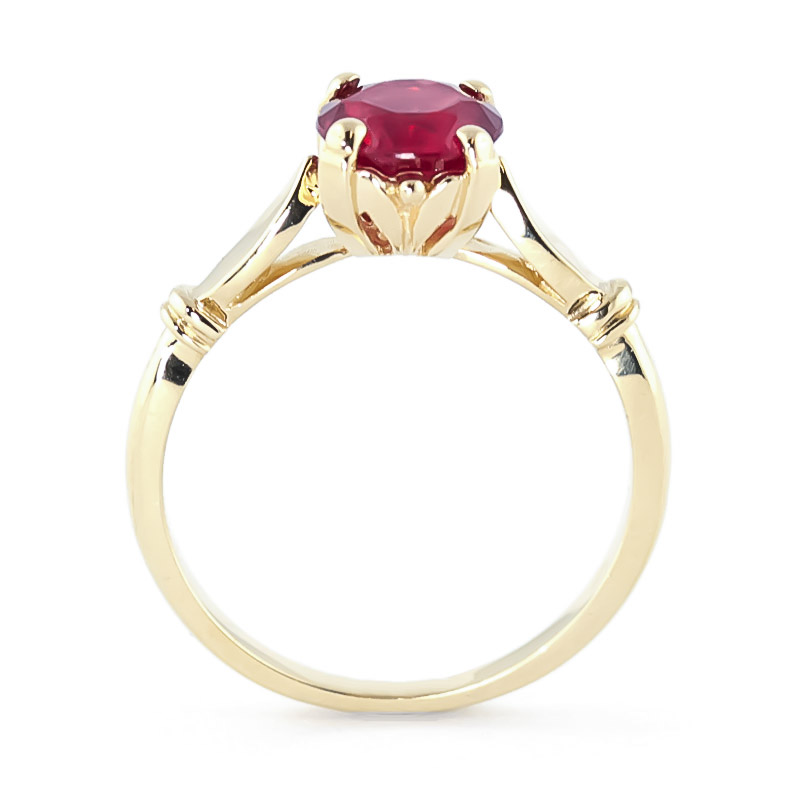 Round Brilliant Cut Ruby Solitaire Ring 2.0ct in 14K Gold
