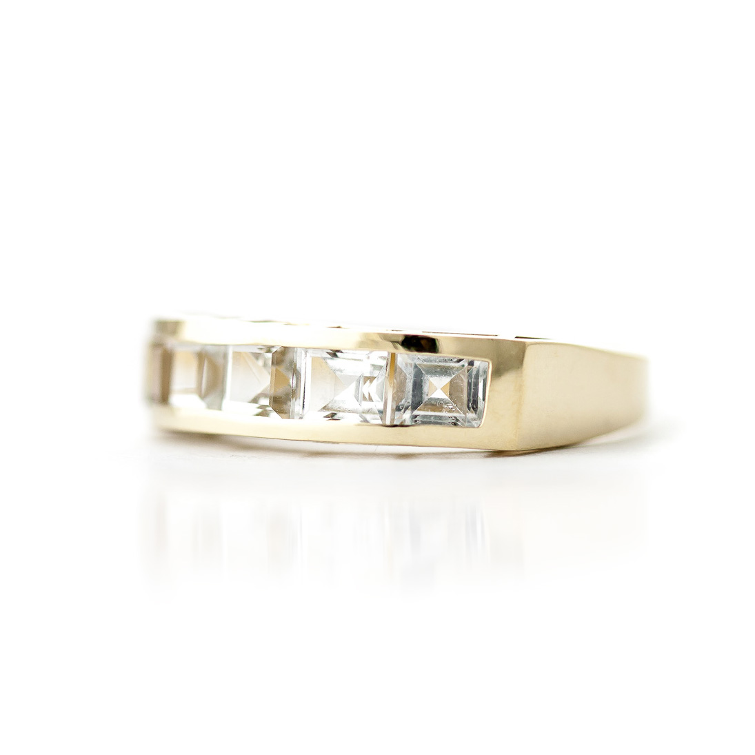 Square Cut White Topaz Ring 2.25ctw in 9ct Gold