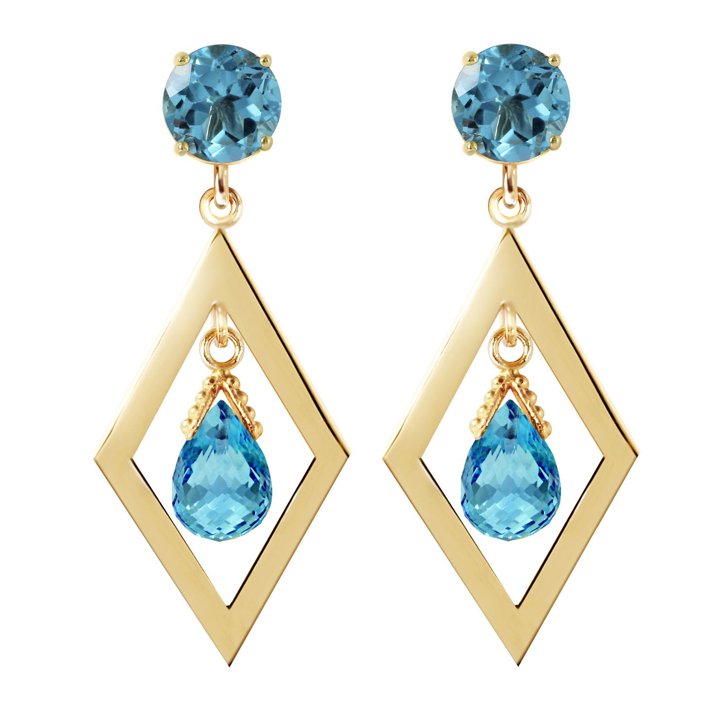 Blue Topaz Kite Drop Earrings 2.4ctw in 9ct Gold