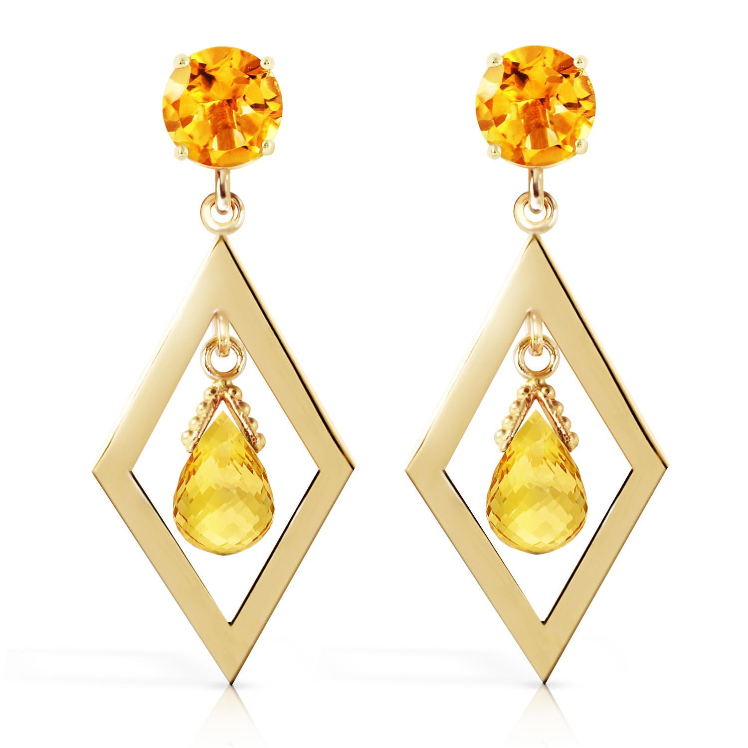 Citrine Kite Drop Earrings 2.4ctw in 9ct Gold