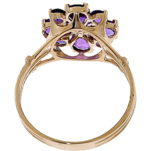 Amethyst Sunflower Cluster Ring 2.43ctw in 9ct Gold