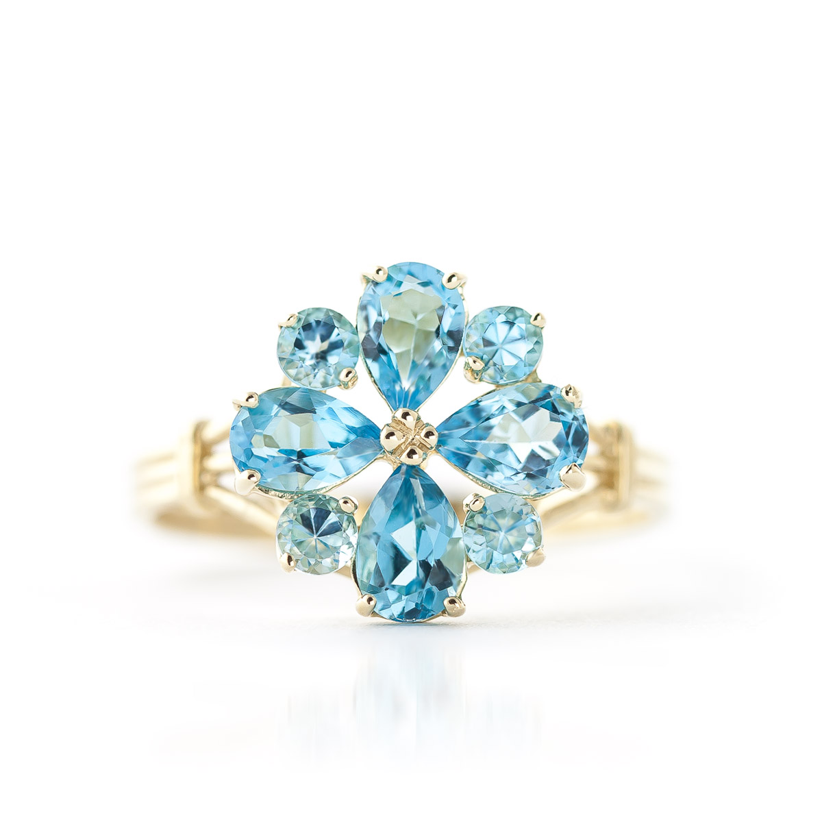 Blue Topaz Sunflower Cluster Ring 2.43ctw in 9ct Gold