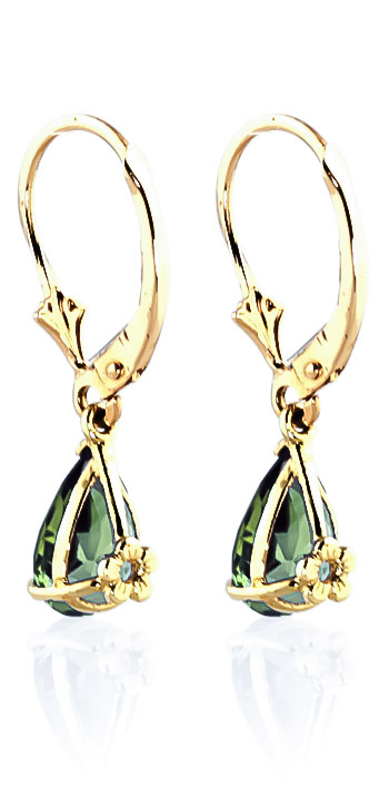 Green Amethyst Belle Drop Earrings 2.45ctw in 9ct Gold