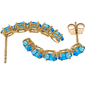 Blue Topaz Linear Stud Earrings 2.5ctw in 14K Gold