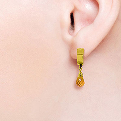 Citrine Teardrop Briolette Earrings 2.5ctw in 9ct Gold