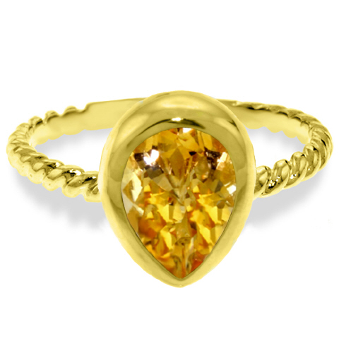 Pear Cut Citrine Ring 2.5ct in 14K Gold