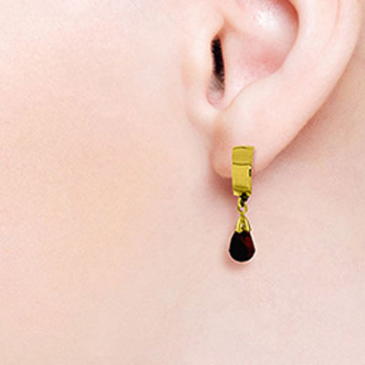 Garnet Teardrop Briolette Earrings 2.5ctw in 9ct Gold