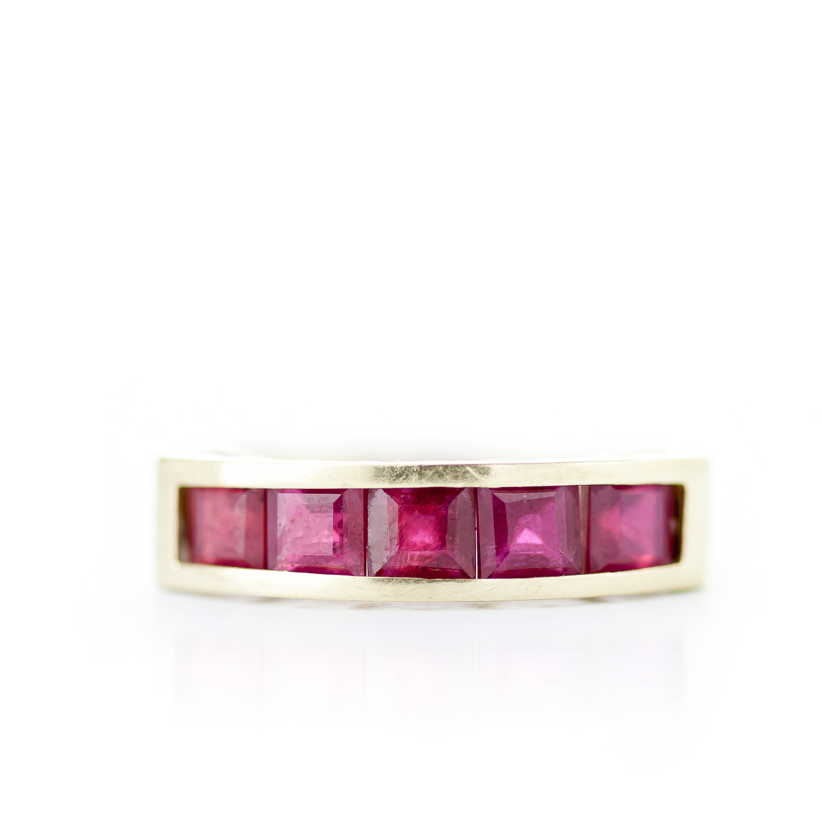 Square Cut Ruby Ring 2.5ctw in 14K Gold