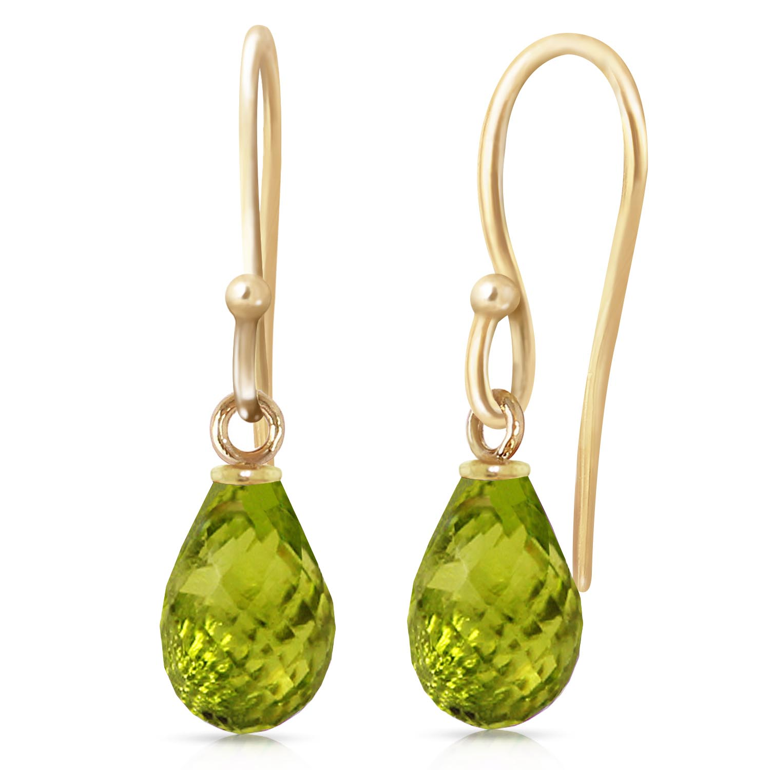 Peridot Zeal Briolette Drop Earrings 2.7ctw in 9ct Gold