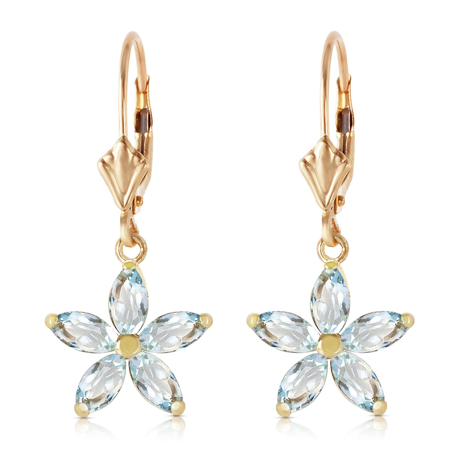 Aquamarine Flower Star Drop Earrings 2.8ctw in 9ct Gold