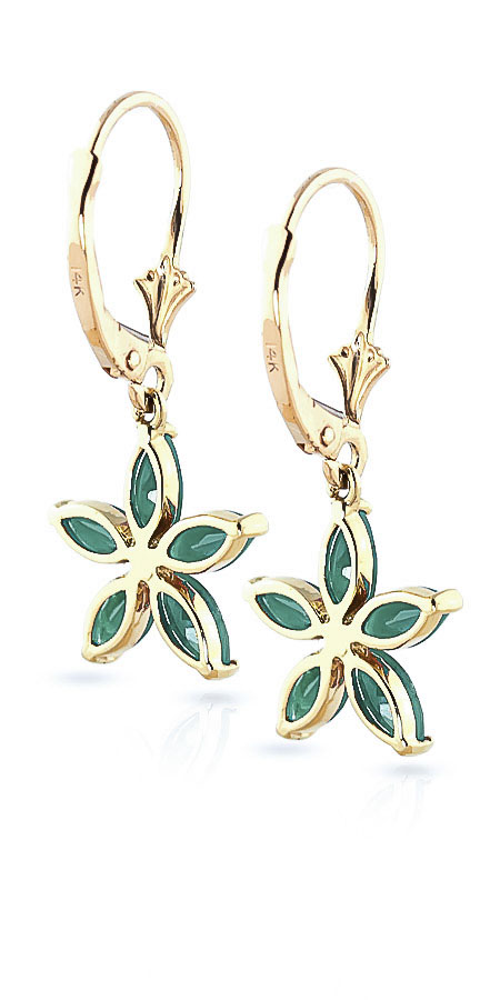 Emerald Flower Star Drop Earrings 2.8ctw in 9ct Gold