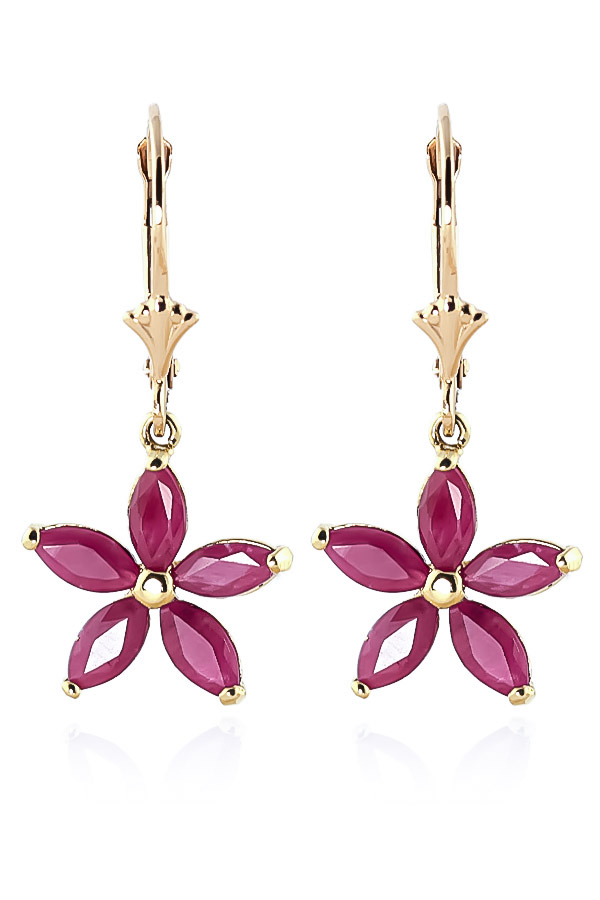 Ruby Flower Star Drop Earrings 2.8ctw in 14K Gold