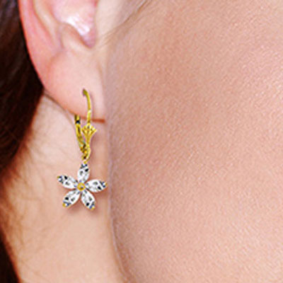 White Topaz Flower Star Drop Earrings 2.8ctw in 9ct Gold