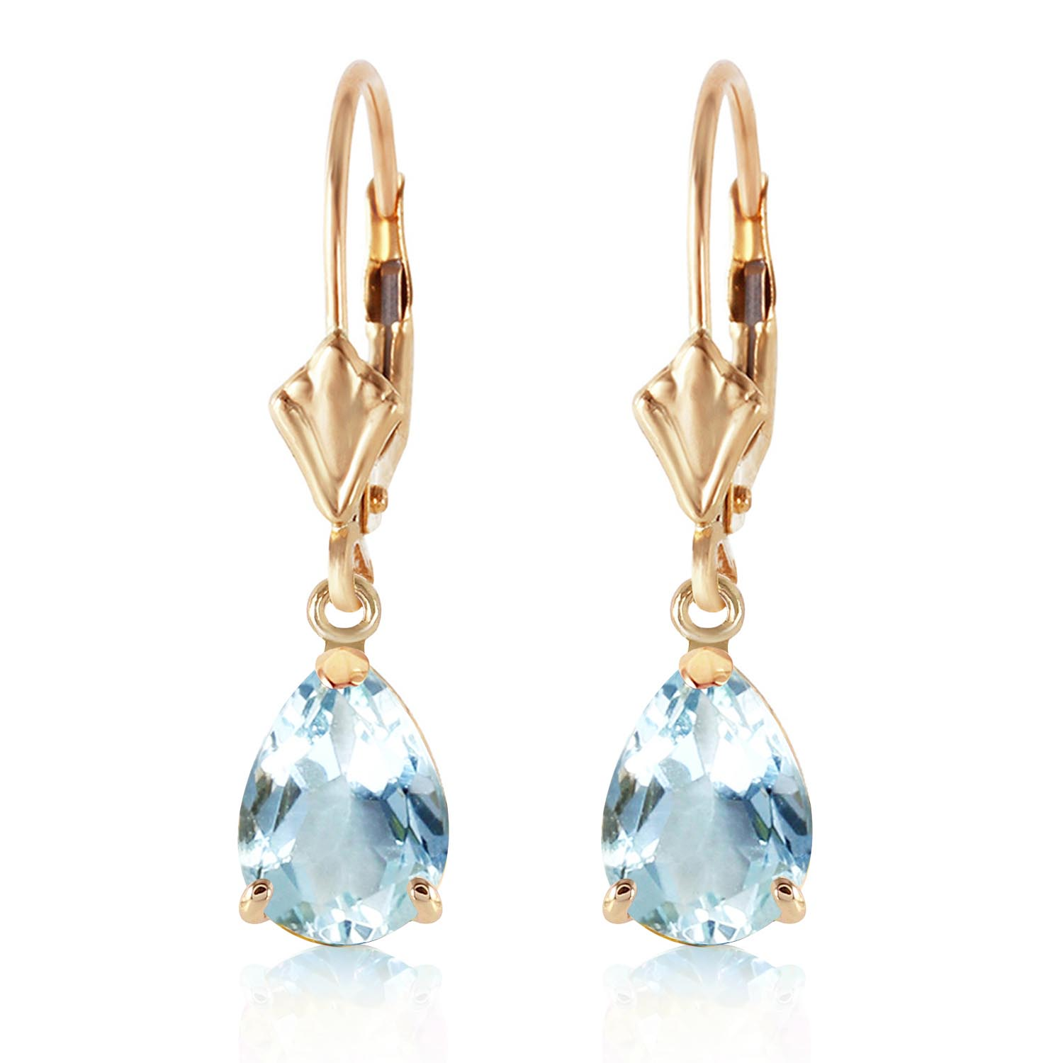 Aquamarine Belle Drop Earrings 2.85ctw in 9ct Gold