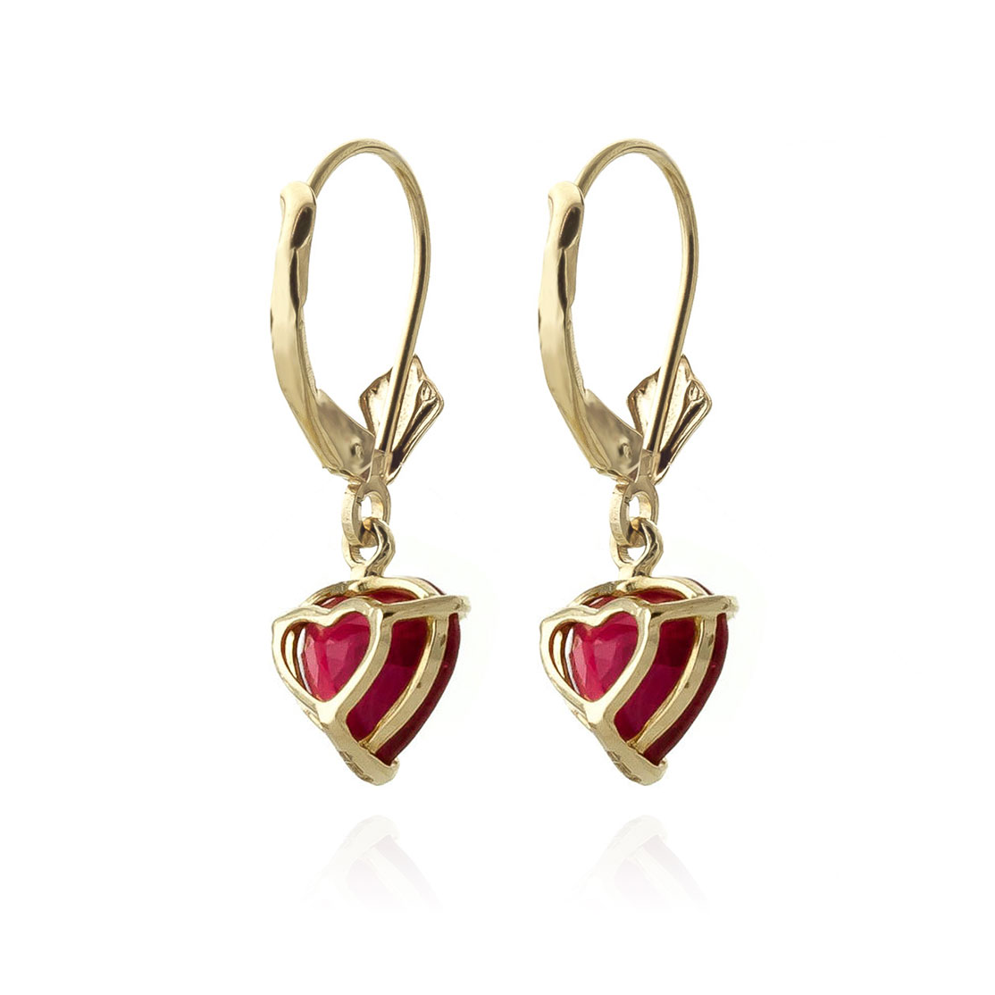 Ruby Heart Drop Earrings 2.9ctw in 9ct Gold
