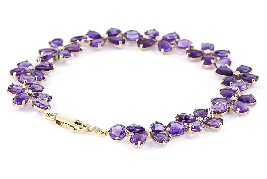 Amethyst Blossom Bracelet 20.7ctw in 9ct Gold