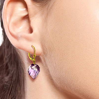 Amethyst Briolette Drop Earrings 21.5ctw in 14K Gold