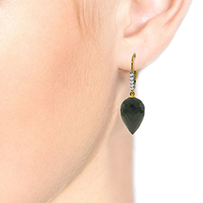 Black Spinel and Diamond Drop Earrings 24.5ctw in 14K Gold