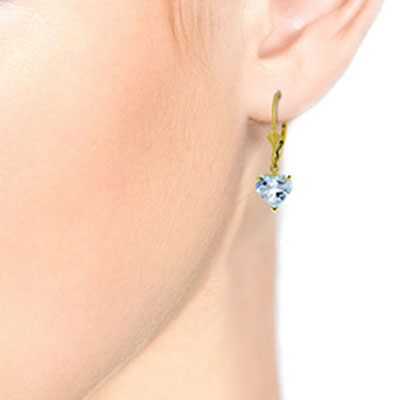 Aquamarine Heart Drop Earrings 3.05ctw in 9ct Gold