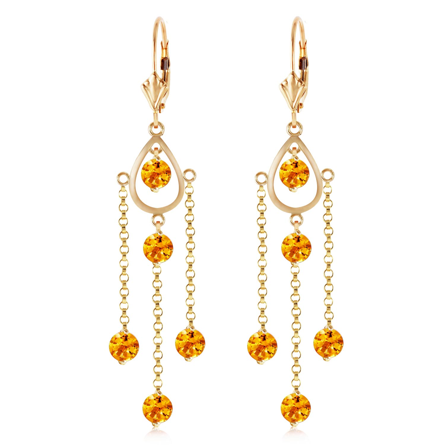 Citrine Faro Drop Earrings 3.0ctw in 9ct Gold