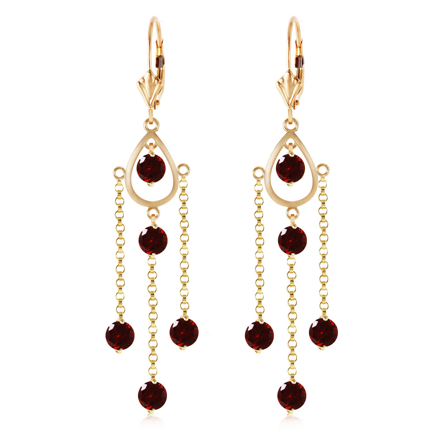 Garnet Faro Drop Earrings 3.0ctw in 14K Gold