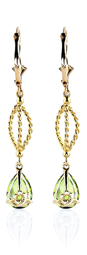 Peridot Sceptre Drop Earrings 3.0ctw in 14K Gold